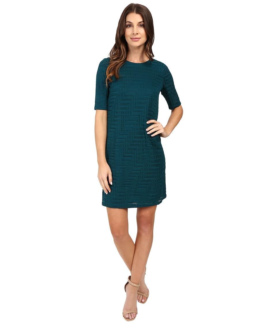 London Times - Geo Burnout Shift Dress (Emerald) Women's Dress