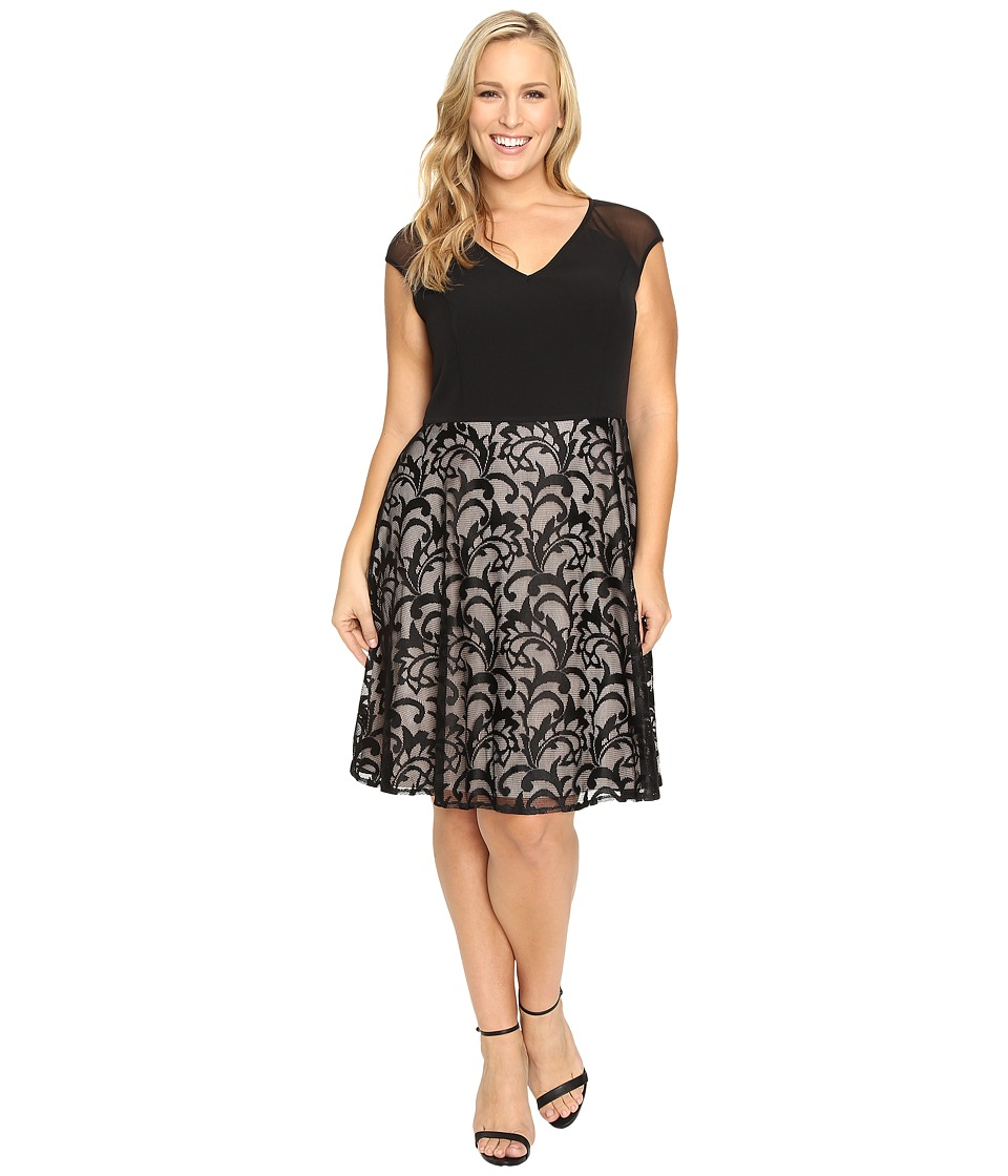 London Times - Plus Size Crepe Lace Fit Flare (Black/Nude) Women's Dress