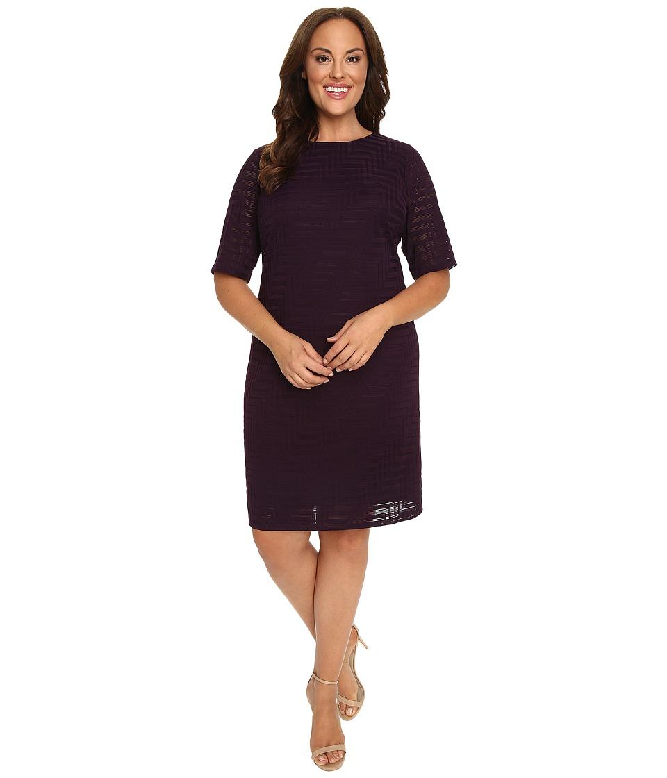 London Times - Plus Size Geo Burnout Shift Dress (Plum) Women's Dress