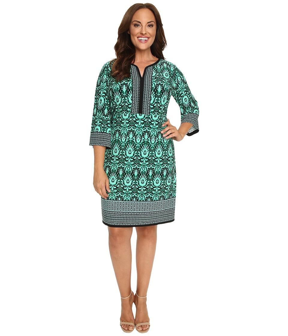 London Times - Plus Size Tribal Medallion Long Sleeve Shift (Black/Aqua) Women's Dress