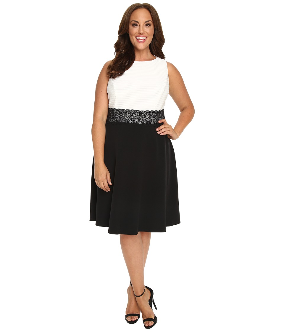 London Times - Plus Size Pintuck Crepe Full Skirt (White/Black) Women's Dress