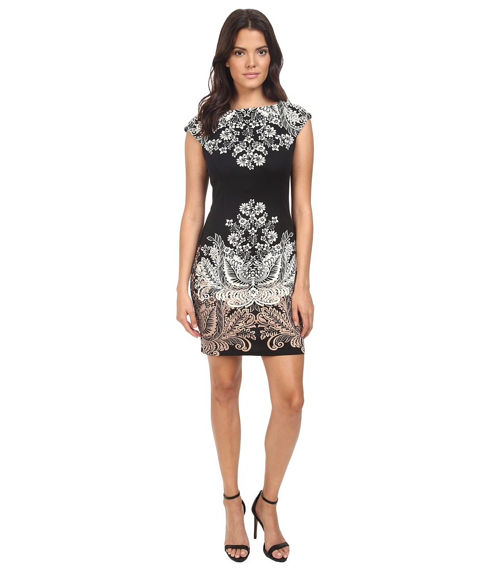London Times - Cap Sleeve Placement Print Sheath (Black/Taupe) Women's Dress