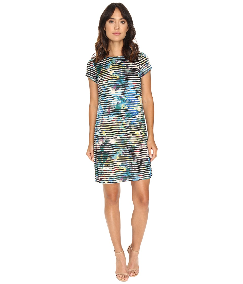 London Times Linear Abstract Short Sleeve Shift (Blue Multi) Women