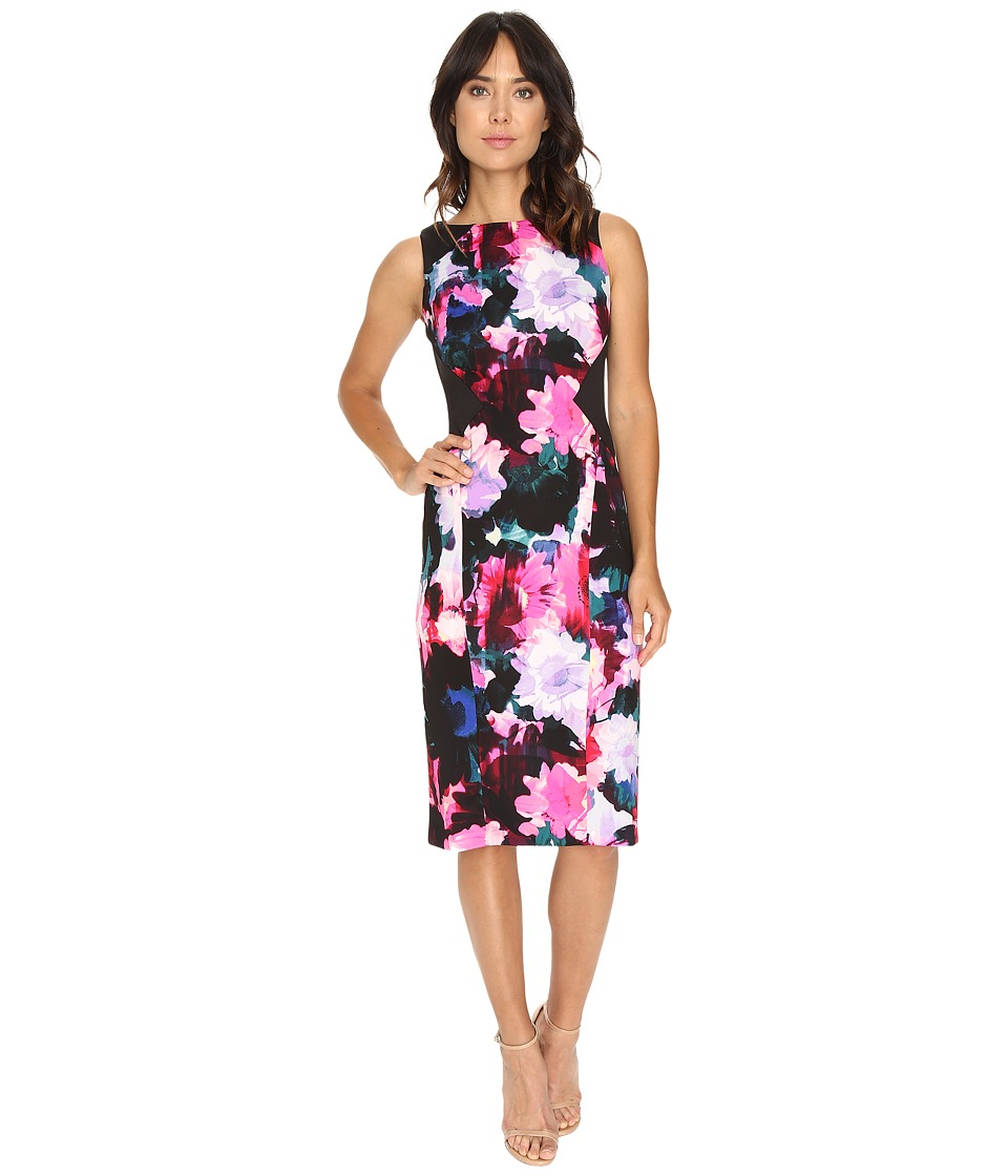 London Times - Sunlit Flower Sleeveless Sheath (Black/Pink) Women's Dress