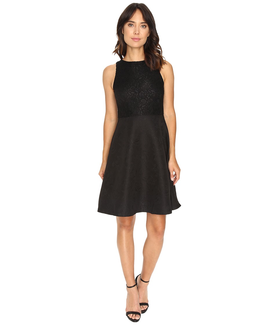 London Times - Shimmer Lace Fit Flare (Black) Women's Dress