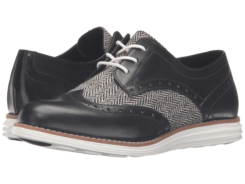 Cole Haan - Original Grand Wingtip (Black Natural Tweed/Black Leather/Optic White) Women's Lace Up Wing Tip Shoes