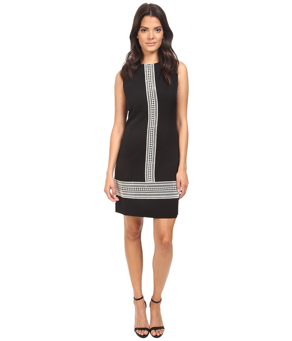 London Times - Crepe Shift with Lace Trim (Black/Ivory) Women's Dress