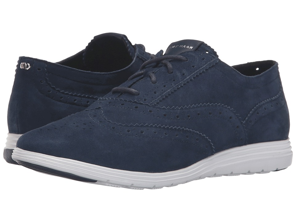 Cole Haan - Grand Tour Oxford (Blazer Blue Suede/Optic White) Women's Lace up casual Shoes