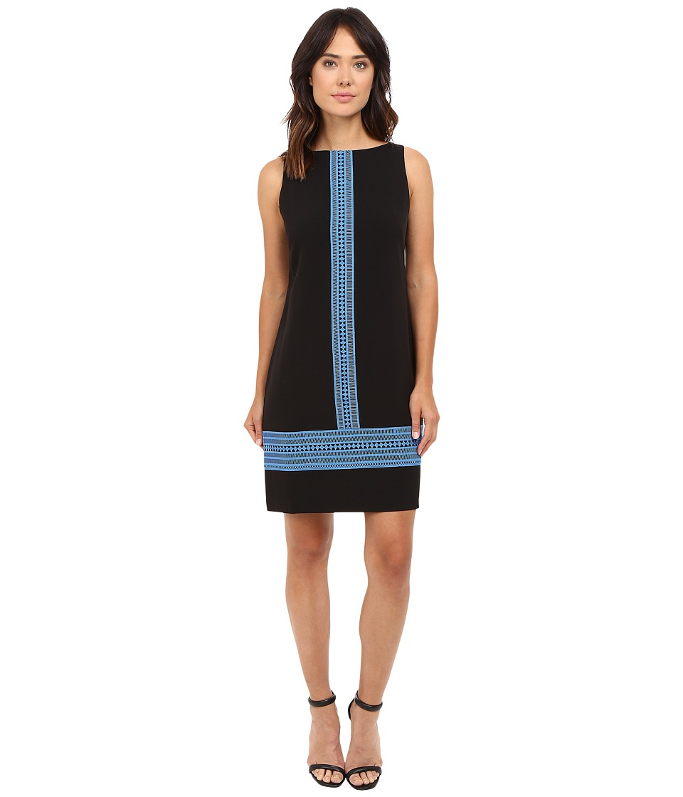 London Times - Crepe Shift with Lace Trim (Black/Blue) Women's Dress