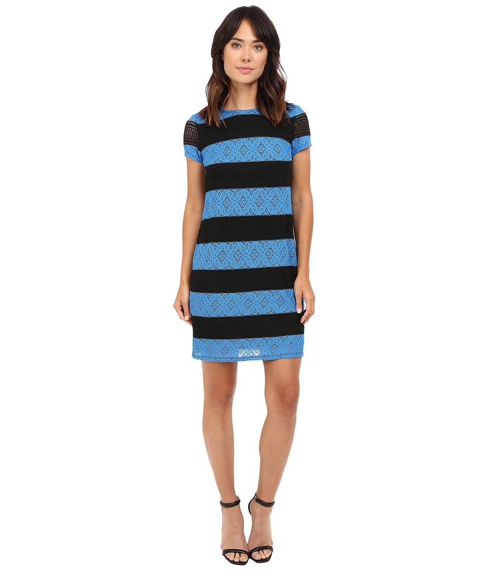 London Times - Star Flower Lace Shift (Black/Blue) Women's Dress