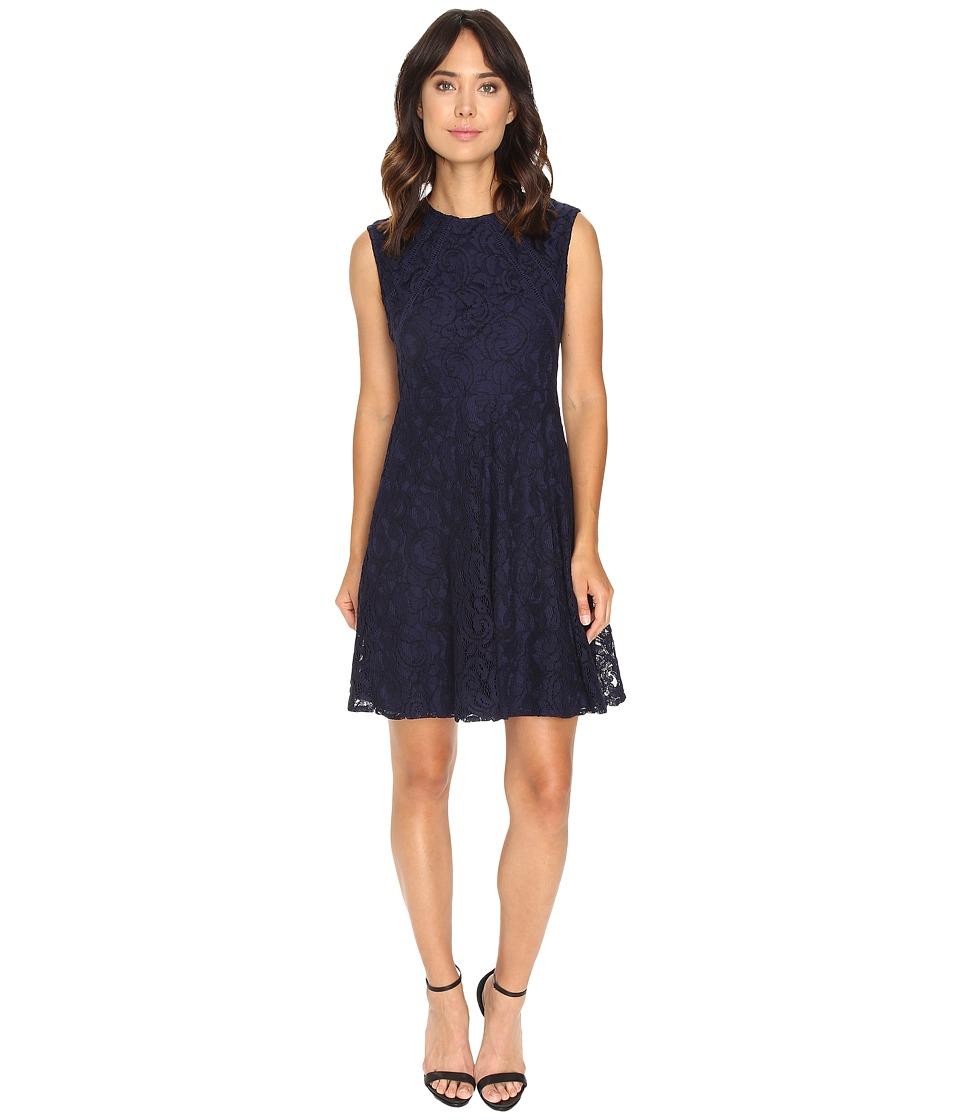 London Times Swirl Lace Cap Sleeve Full Skirt (Navy) Women