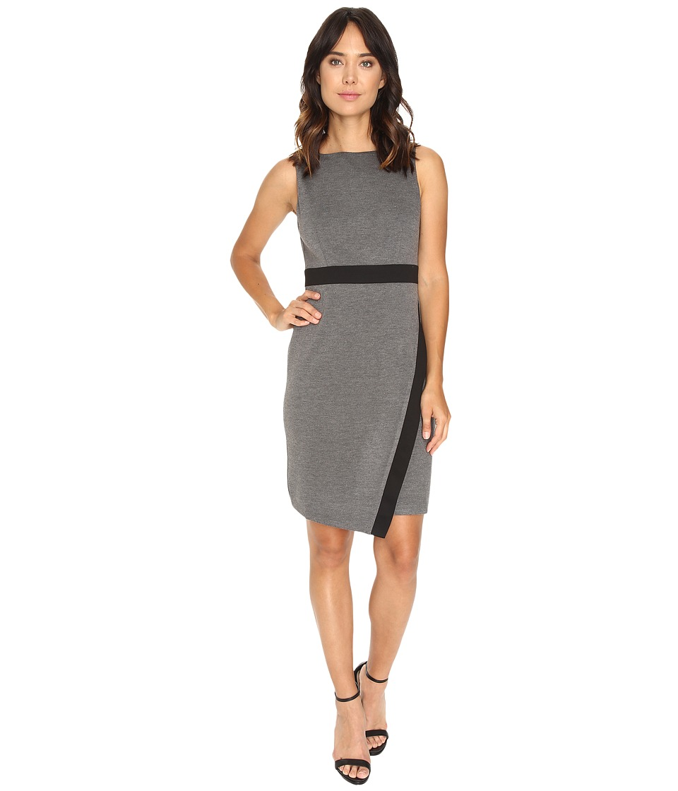 London Times - Fitted Asymmetrical Skirt (Grey/Black) Women's Dress