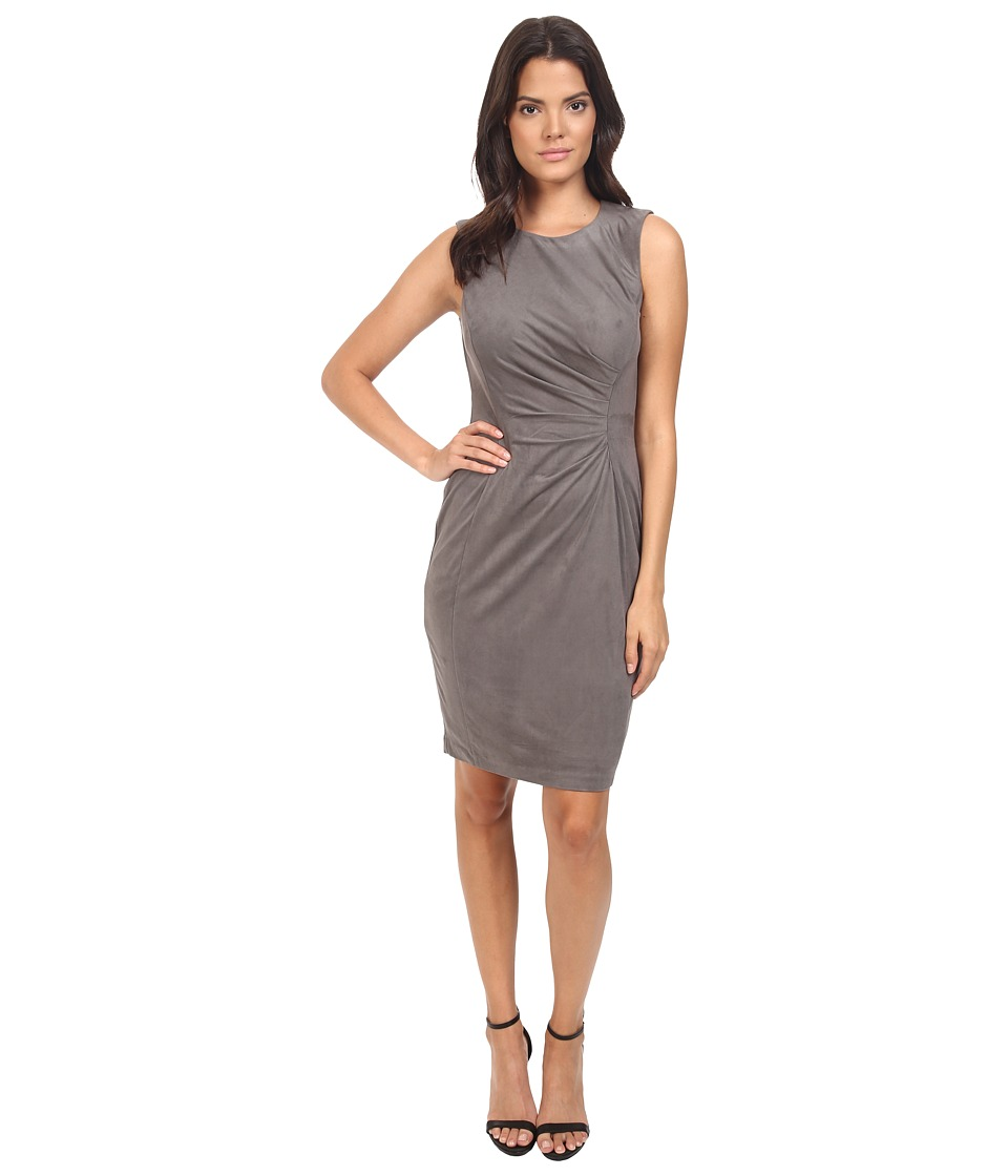 London Times - Suede w/ Pleated Front (Grey) Women's Dress