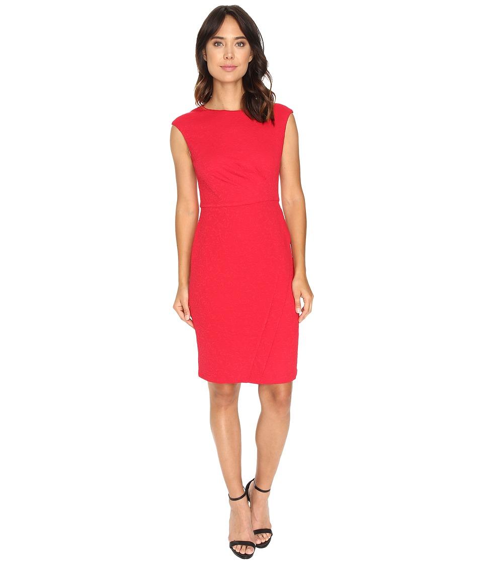 London Times - Swirl Texture Side Pleat Sheath (Rose) Women's Dress