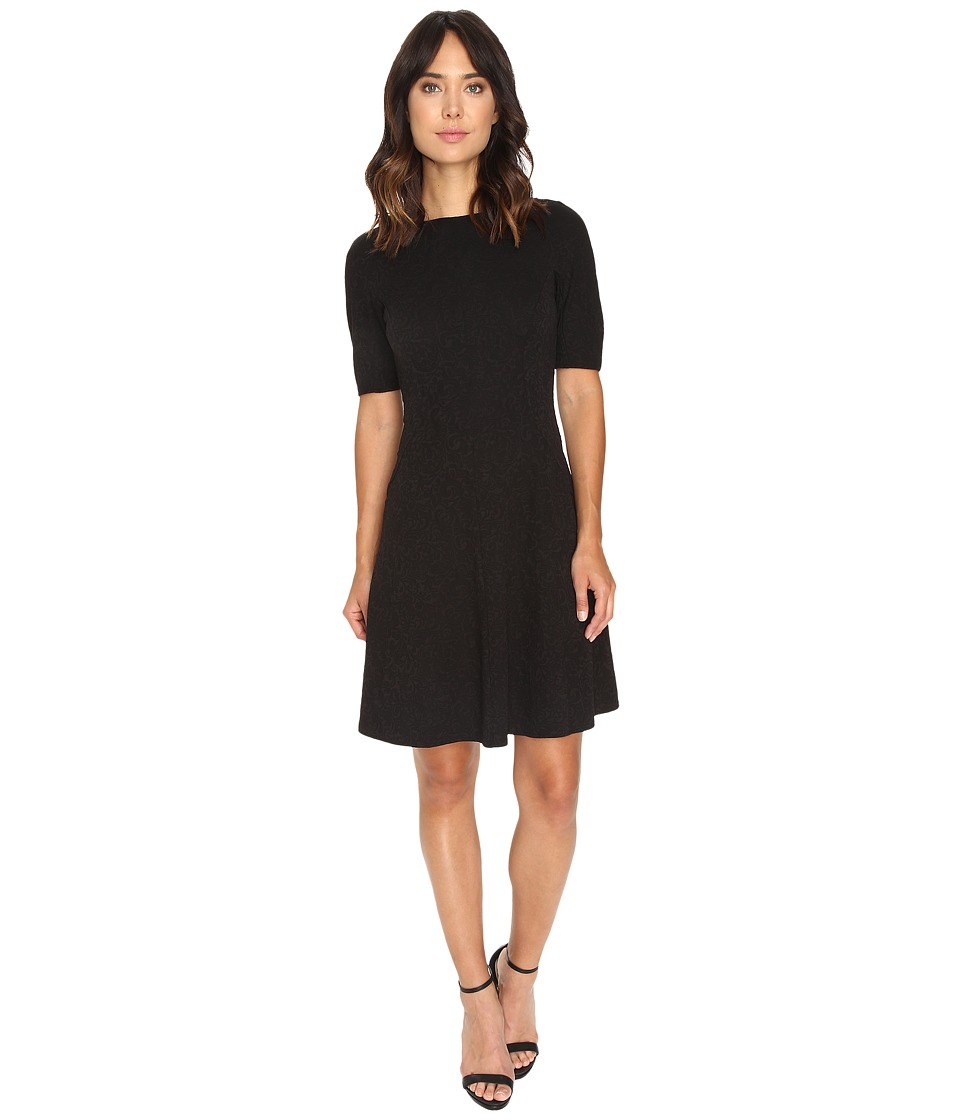 London Times - Swirl Texture Dress Elbow Sleeve (Black) Women's Dress