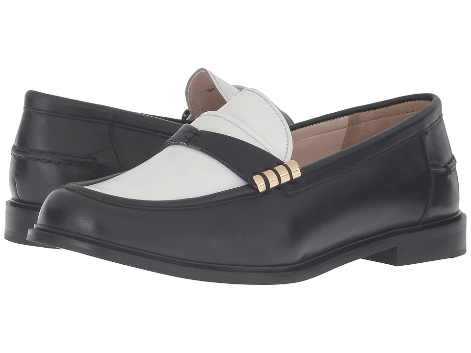 Cole Haan - Mazie Loafer (Black Leather/White Leather) Women's Slip on Shoes