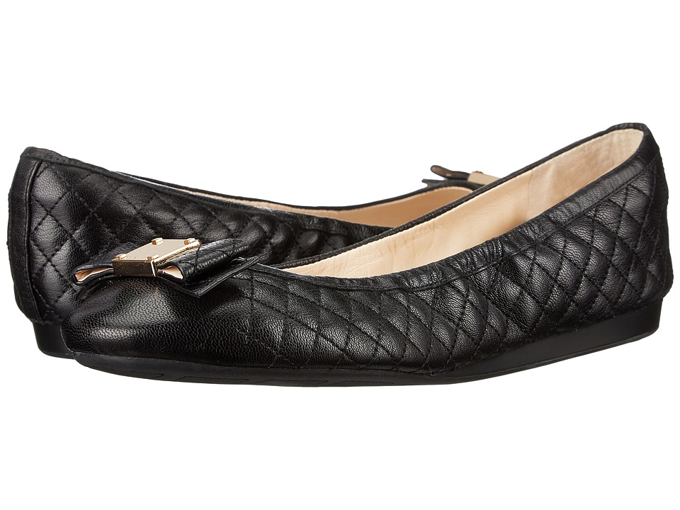 Cole Haan - Tali Bow Quilted Ballet (Black Quilted Leather) Women's Flat Shoes