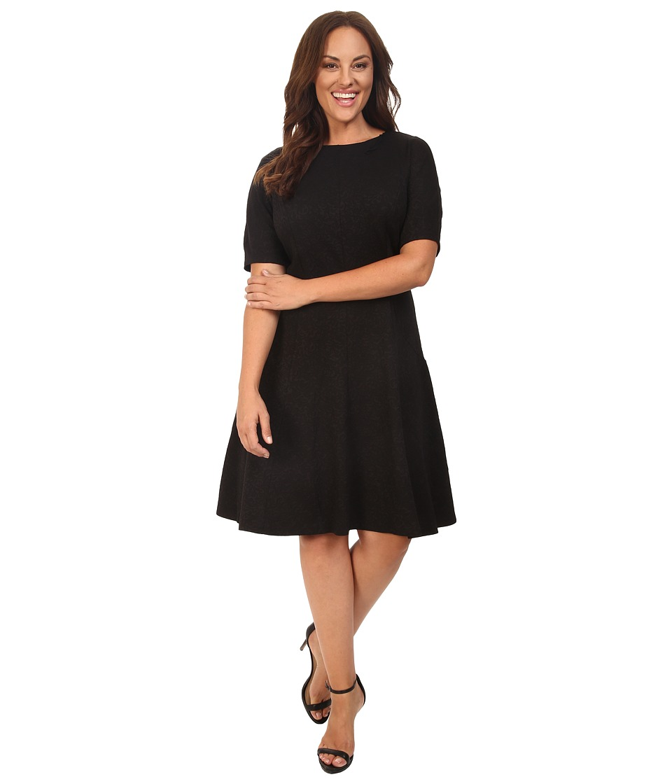 London Times - Plus Size Swirl Texture Dress Elbow Sleeve (Black) Women's Dress