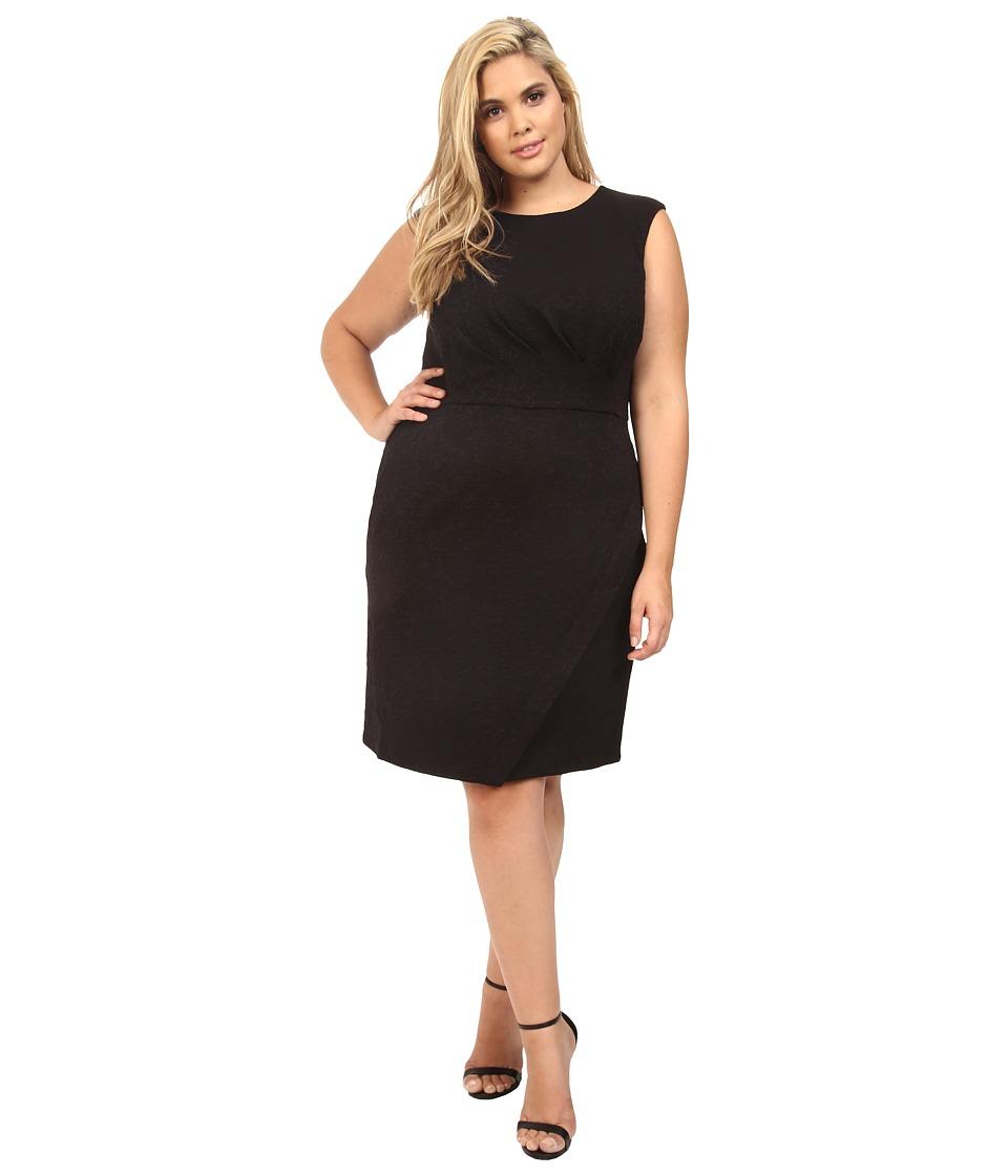London Times - Plus Size Swirl Texture Side Pleat Sheath (Black) Women's Dress