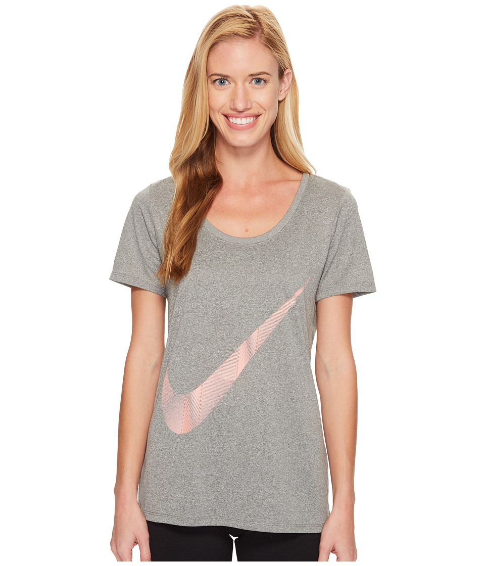 Nike - Dry Legend Pyramid Swoosh Tee (Carbon Heather) Women's T Shirt
