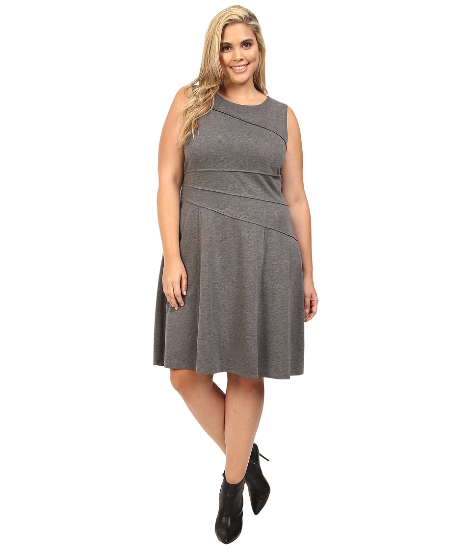London Times - Plus Size Solid Ponte Flare Dress (Grey) Women's Dress