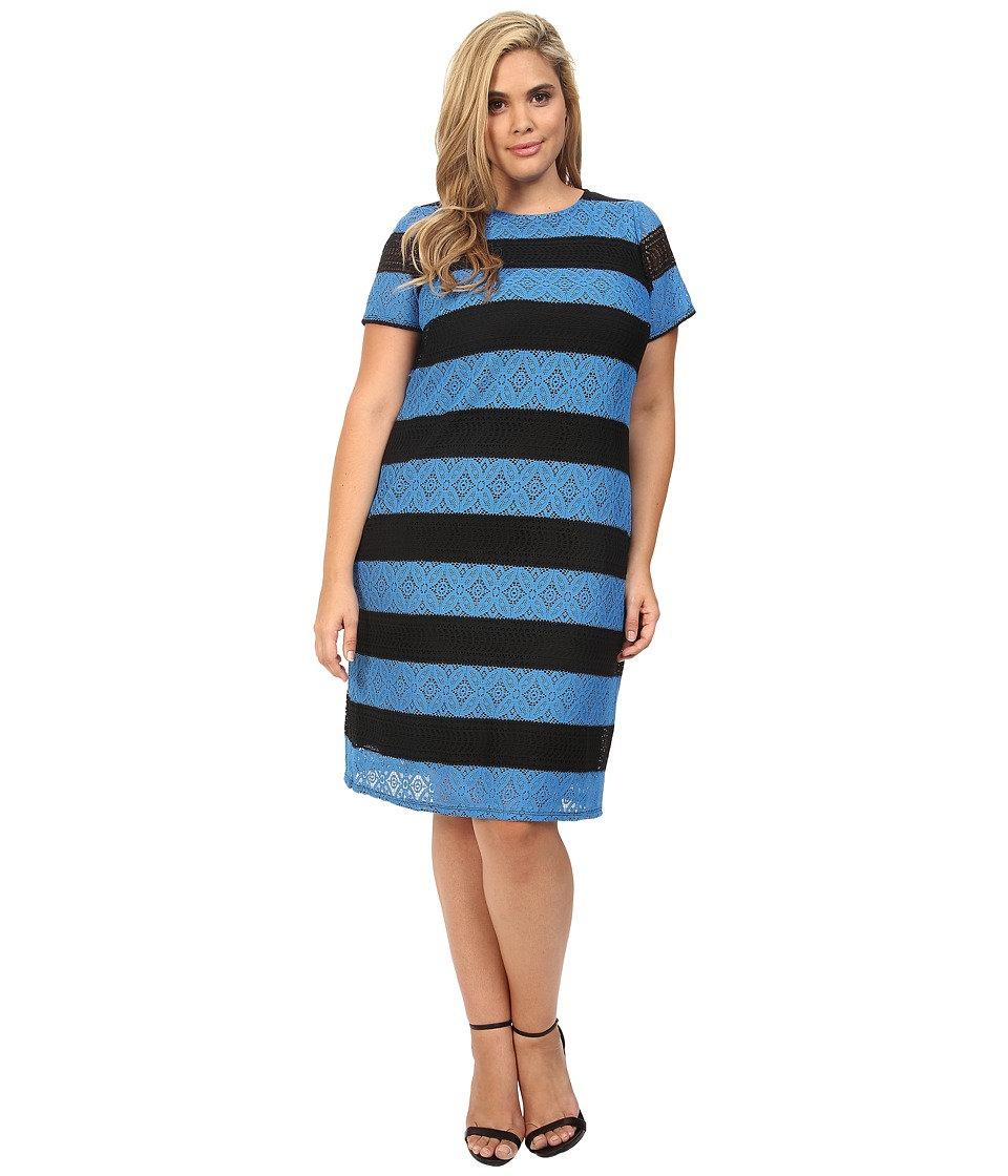 London Times - Plus Size Star Flower Lace Shift (Black/Blue) Women's Dress