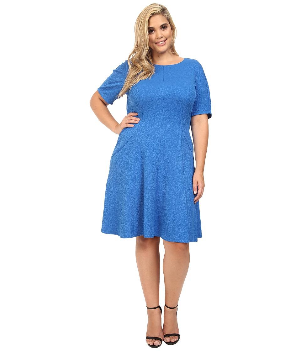 London Times - Plus Size Swirl Texture Dress Elbow Sleeve (Blue) Women's Dress