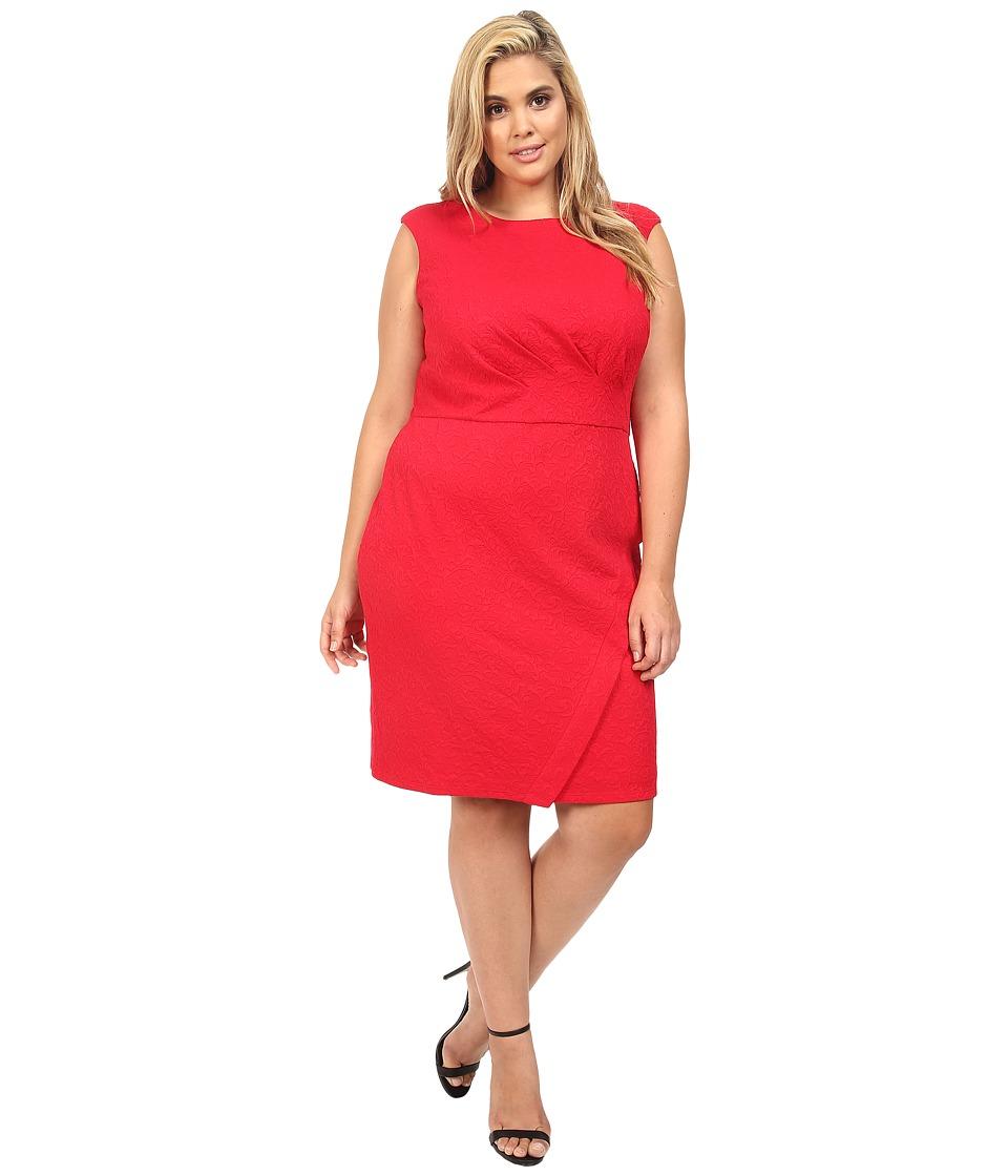 London Times - Plus Size Swirl Texture Side Pleat Sheath (Rose) Women's Dress