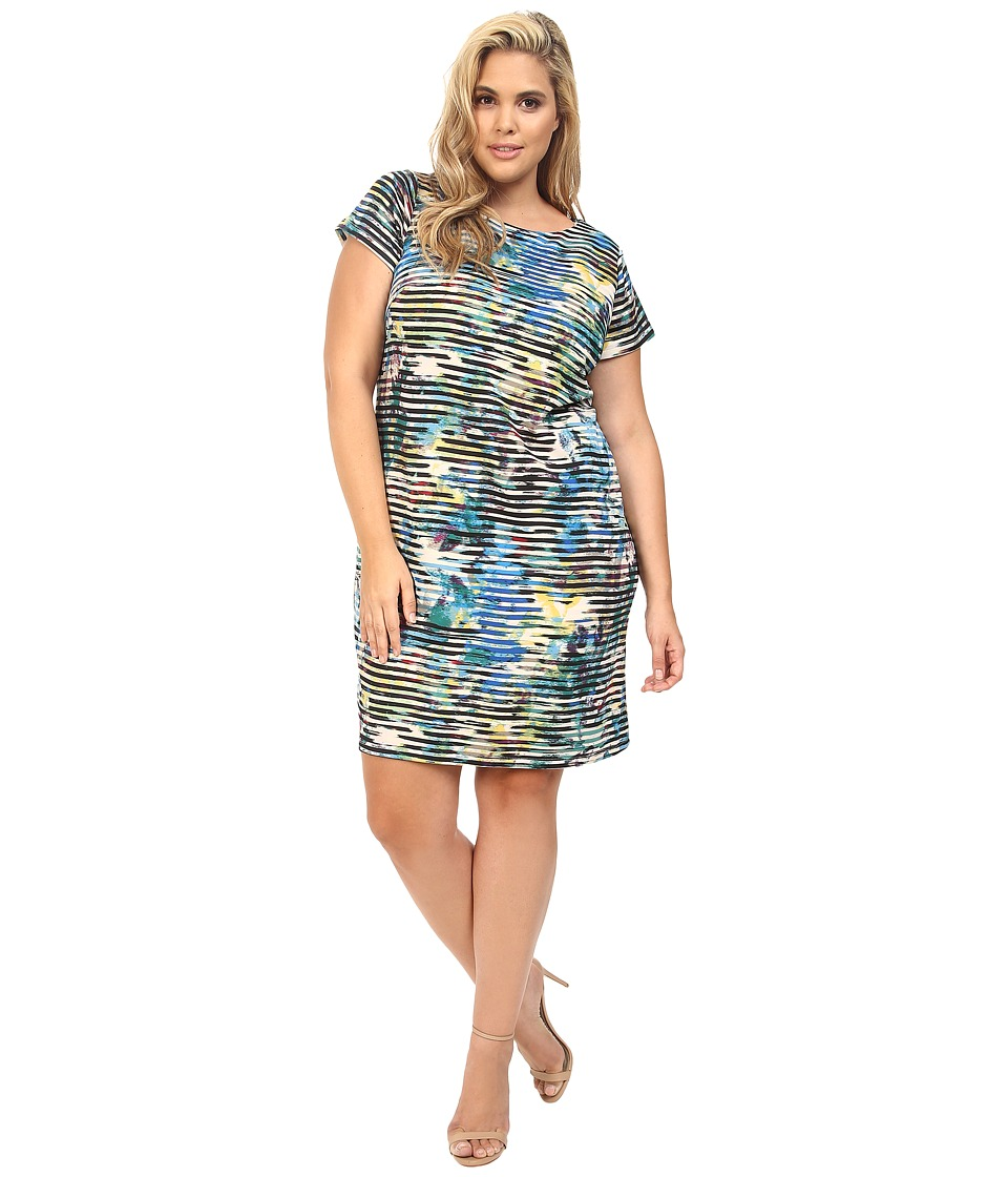 London Times - Plus Size Linear Abstract Short Sleeve Shift (Blue Multi) Women's Dress