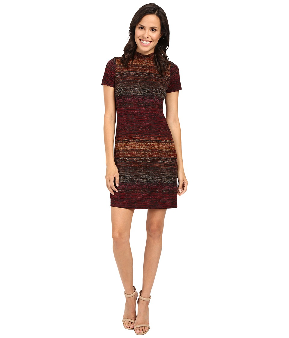 London Times - Turtle Neck Shift Dress (Multi) Women's Dress