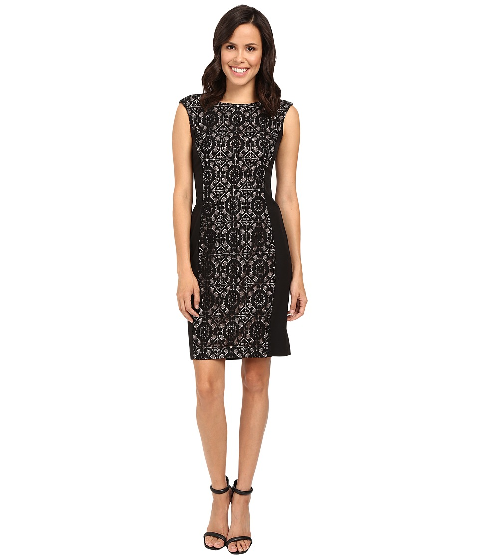 London Times - Cathedral Lace Cap Sleeve Sheath (Black/Nude) Women's Dress