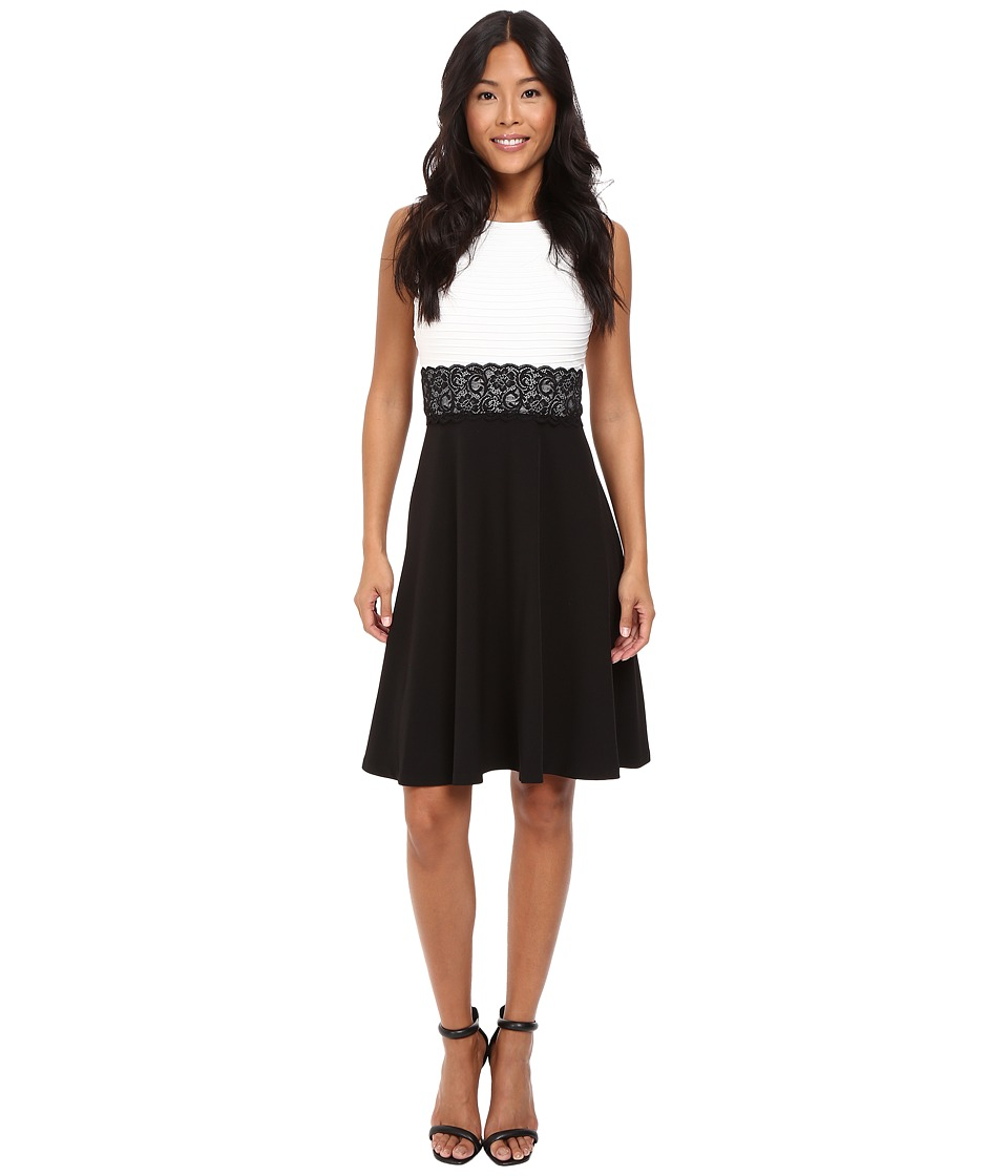 London Times - Pintuck Crepe Full Skirt (White/Black) Women's Dress