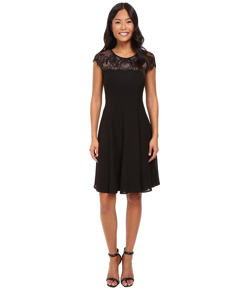 London Times - Scallop Lace Yoke Fit Flare (Black) Women's Dress