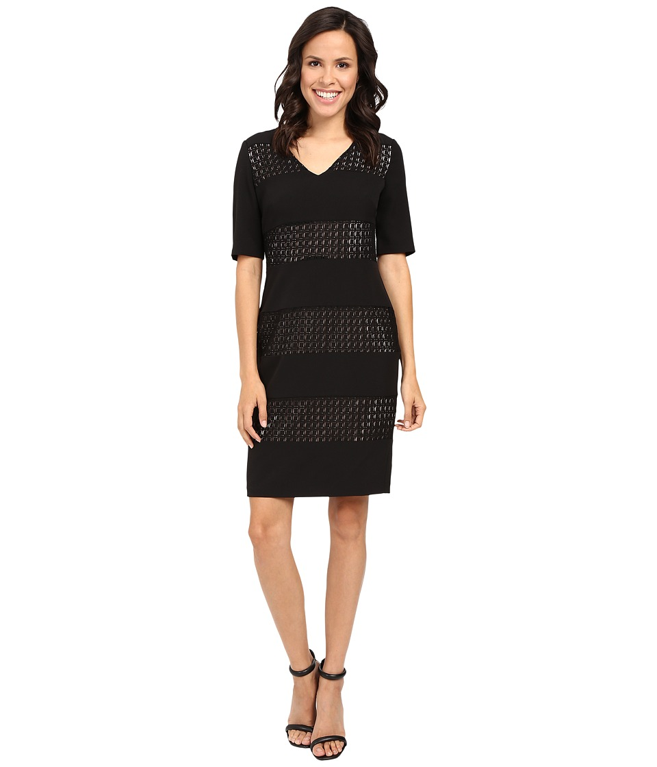 London Times - Window Box V-Neck Sheath (Black/Nude) Women's Dress