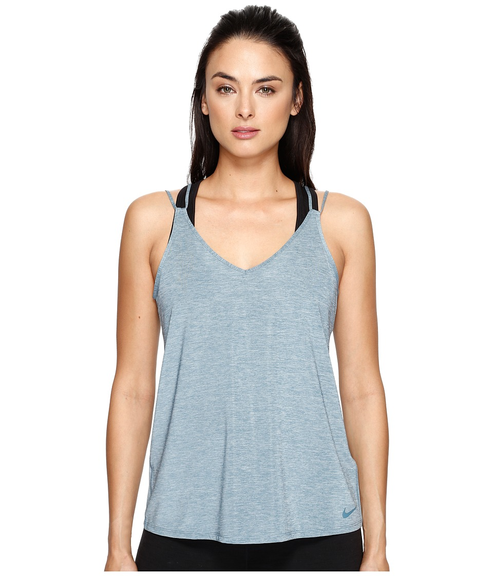 Nike - Dry Strappy Training Tank (Smokey Blue/Heather/Smokey Blue) Women's Sleeveless