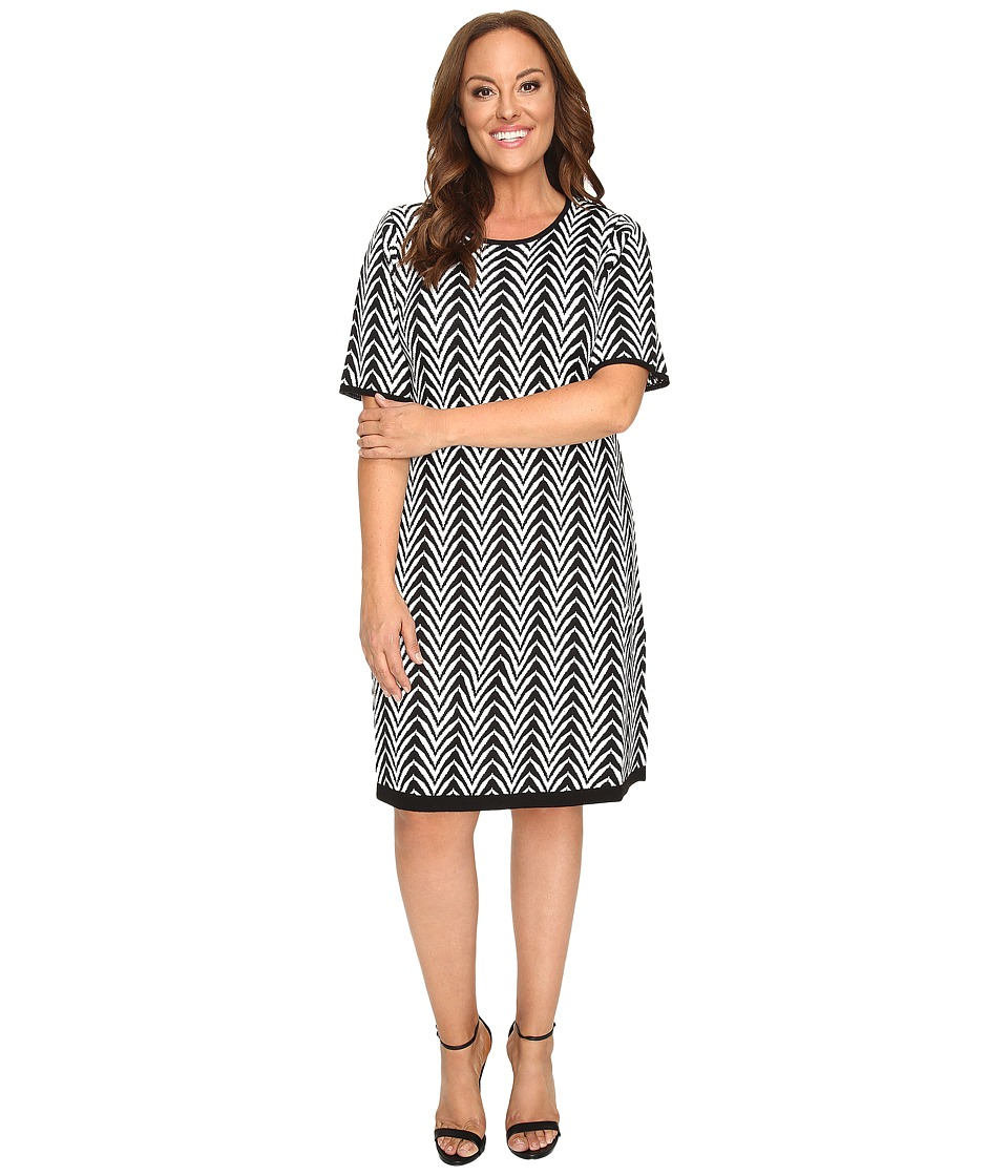 London Times - Plus Size Chevron Elbow Sleeve Fit Flare (Black/Ivory) Women's Dress