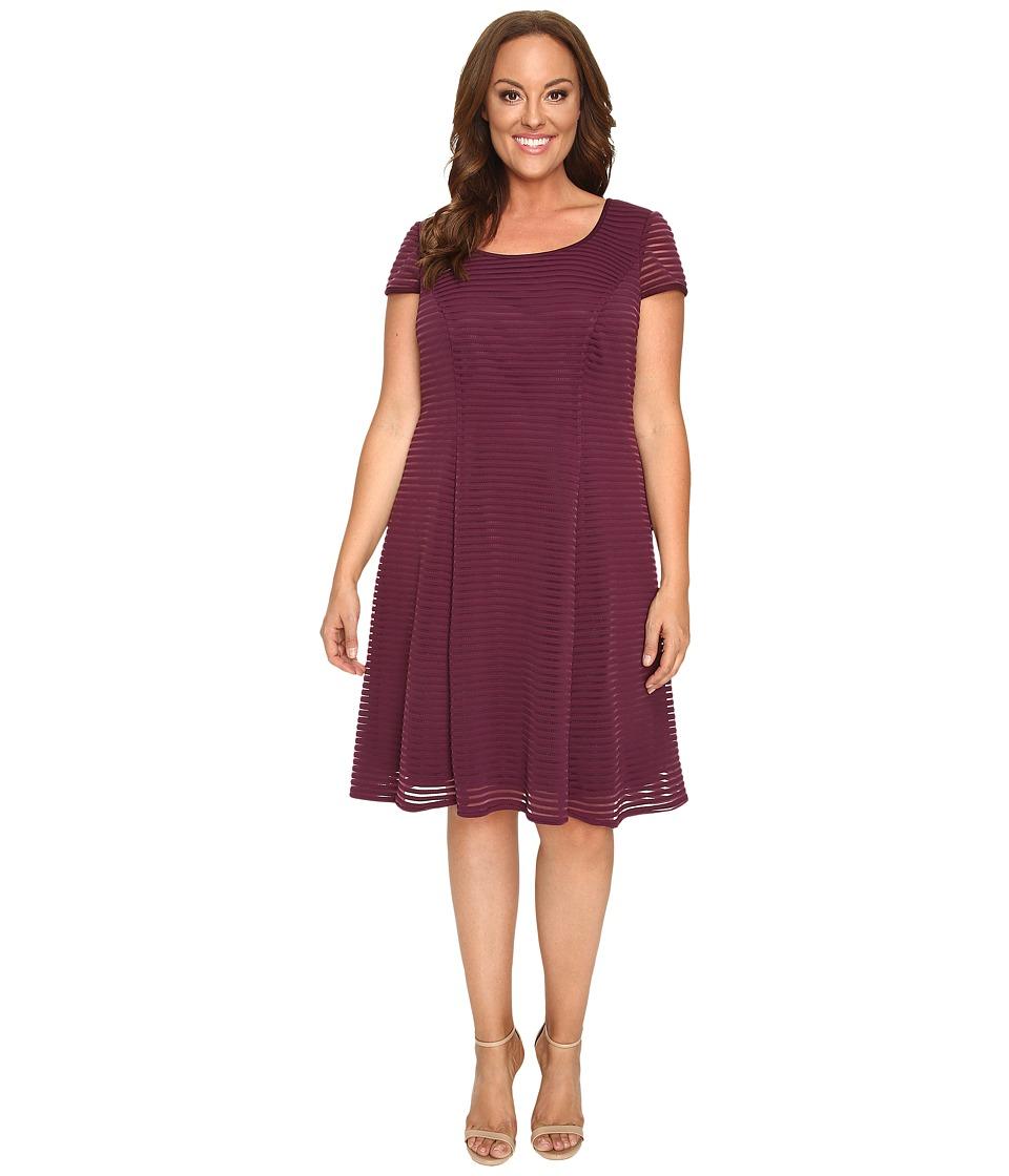 London Times - Plus Size Stripe Mesh Fit Flare (Wine) Women's Dress