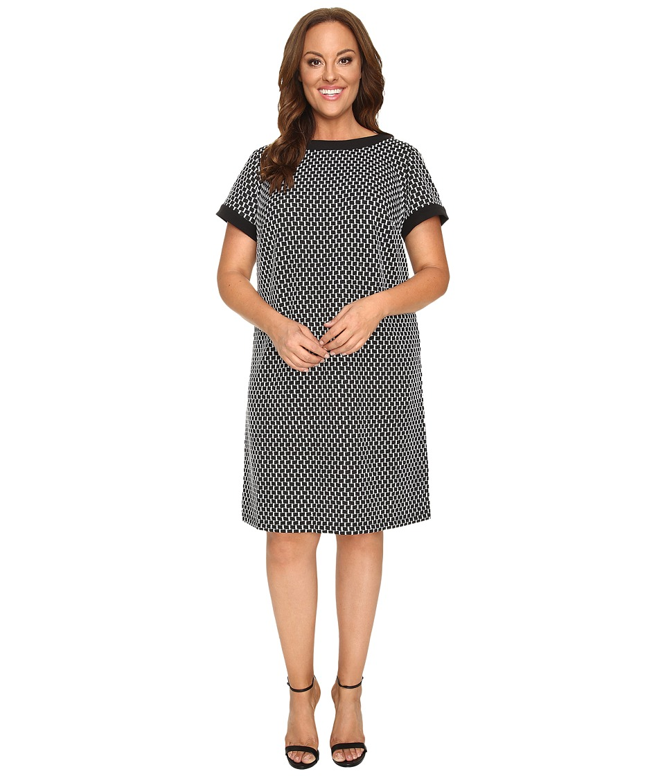 London Times - Plus Size Geo Square Short Sleeve Shift (Black/Grey) Women's Dress