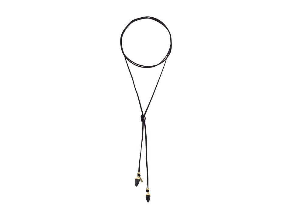 Vanessa Mooney - The Black Onyx Stone Bolo Necklace (Gold) Necklace