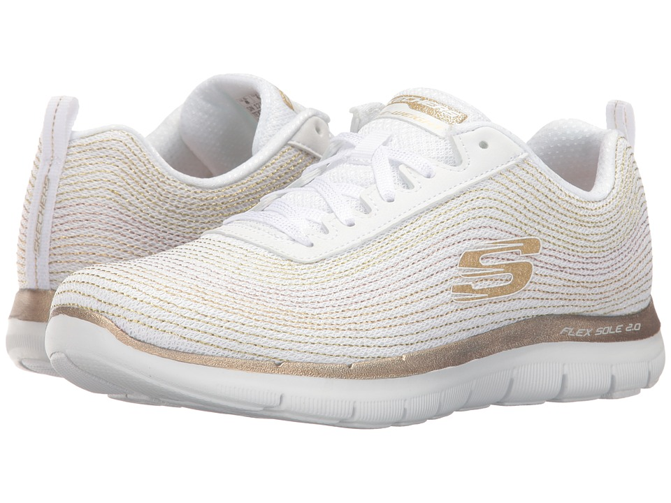 SKECHERS - Flex Appeal 2.0 - Metal Madness (White/Gold) Women's Shoes