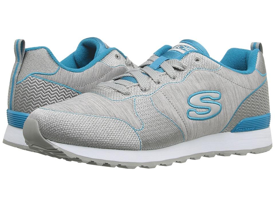 SKECHERS - OG 85 - Quick Stitch (Gray/Blue) Women's Shoes