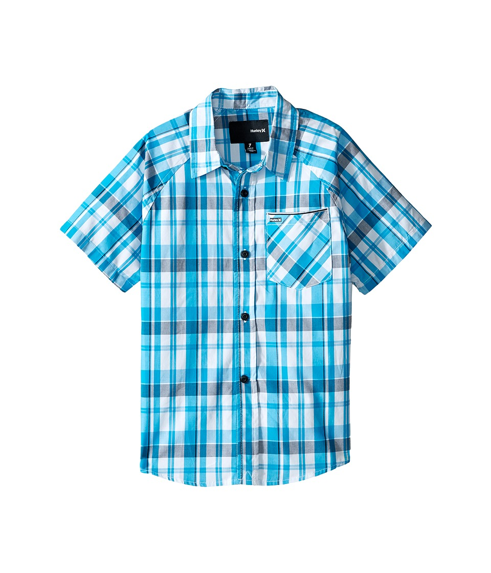 Hurley Kids - Raglan Short Sleeve Woven Top (Little Kids) (Blue Lagoon/White) Boy's Clothing