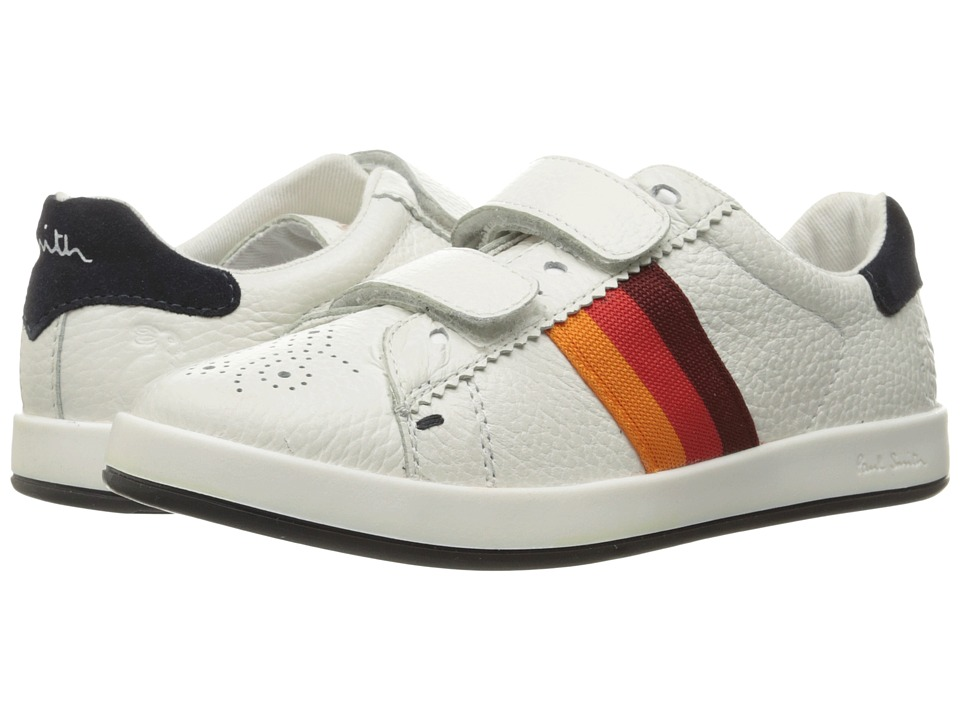 Paul Smith Junior - Leather Sneaker with Straps (Little Kid/Big Kid) (White) Boys Shoes