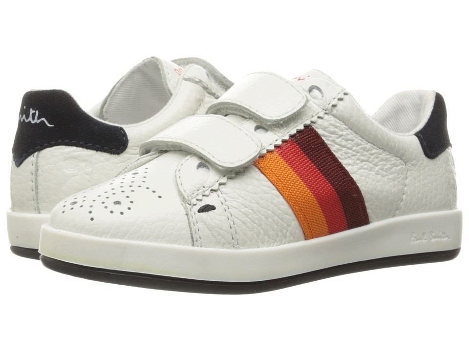 Paul Smith Junior - Leather Sneaker with Straps (Toddler/Little Kid) (White) Boys Shoes