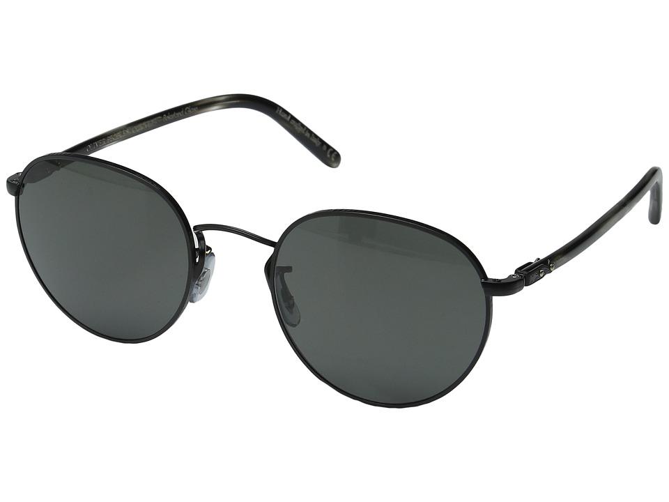 Oliver Peoples - Hassett (Matte Black/Semi-Matte Ebonywood/Midnight Express Polarized) Fashion Sunglasses