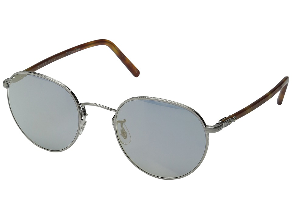 Oliver Peoples - Hassett (Brushed Silver/Semi-Matte Light Brown/Blue Goldtone Vintage) Fashion Sunglasses