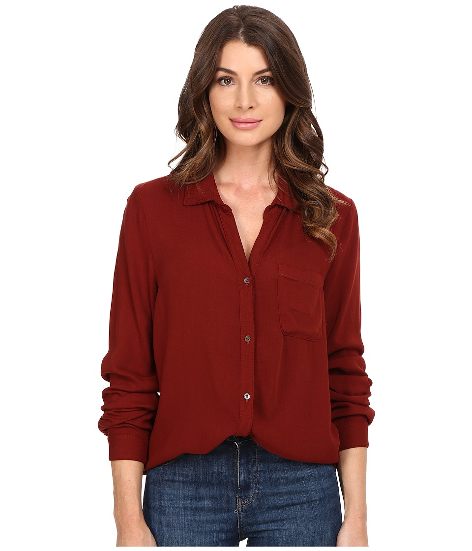 Three Dots - Ariana - Button Down Shirt (Adobe Brick) Women's Clothing