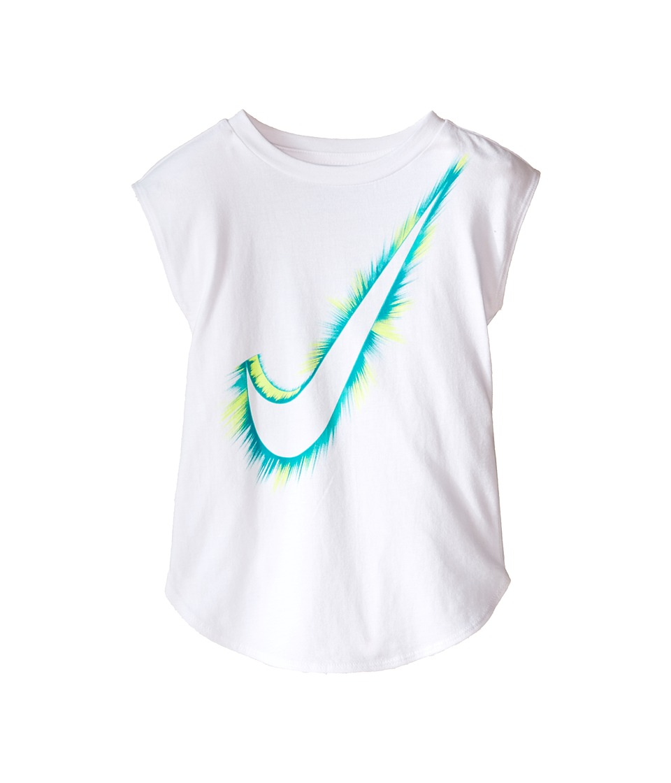 Nike Kids - Burst Swoosh Modern Short Sleeve Tee (Toddler) (White) Girl's Clothing