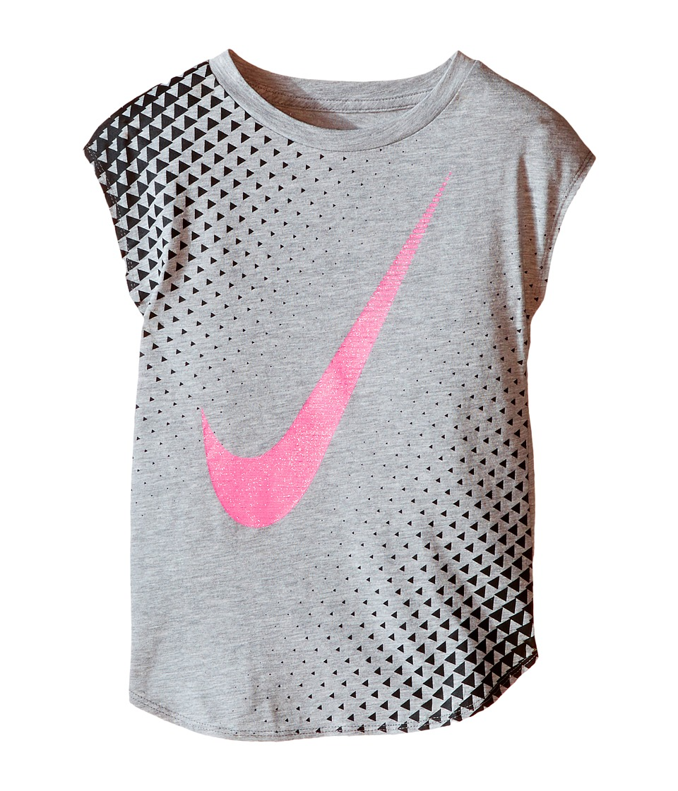 Nike Kids - Tri Halftone Swoosh Short Sleeve Tee (Toddler) (Dark Grey Heather) Girl's T Shirt