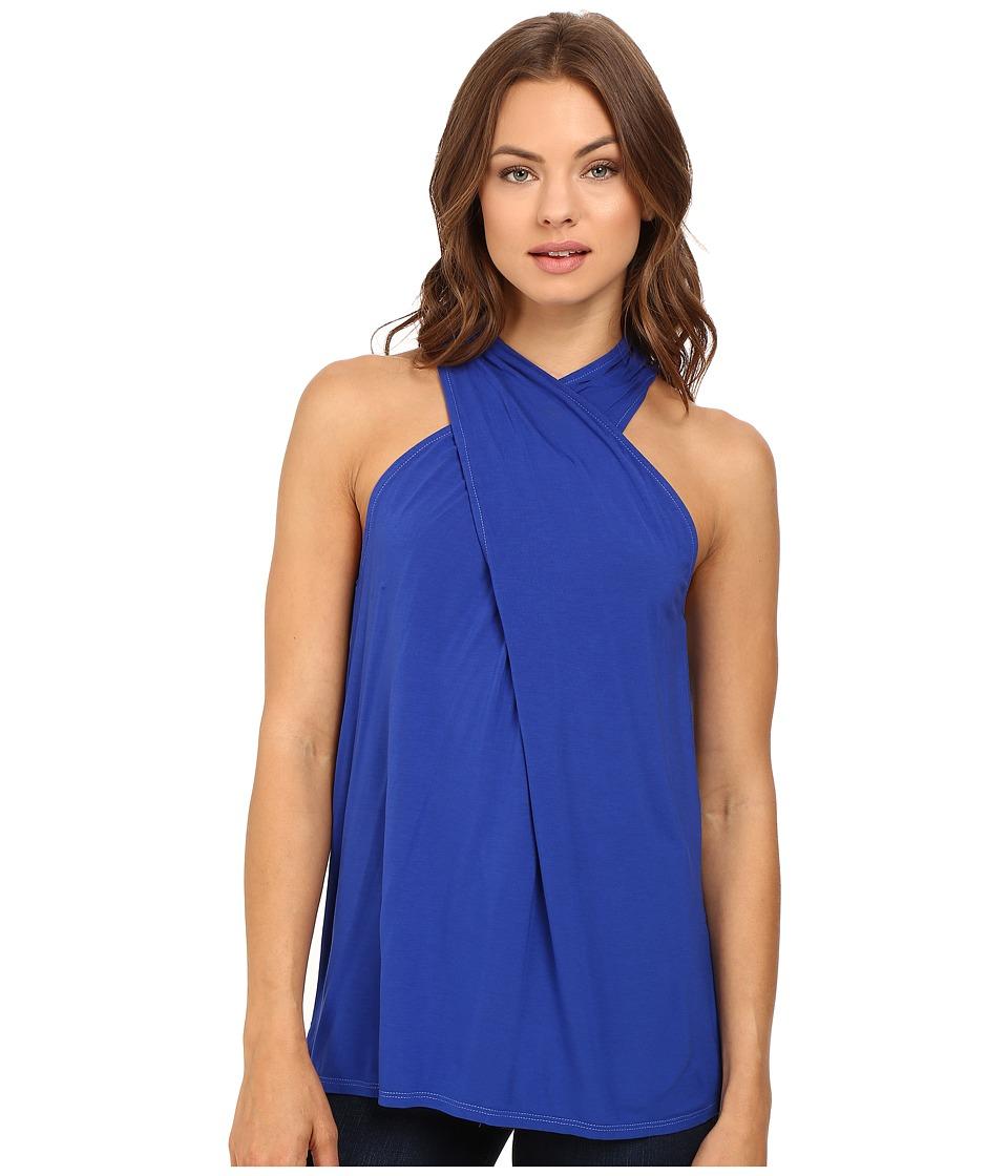 Michael Stars - Jersey Lycra Twist Front Halter (Lapis Azul) Women's Sleeveless